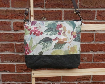 Simple Shoulder Bag - Autumn Theme Crossbody Bag - Everyday Bag - Waxed Canvas Bag - style: LILLY