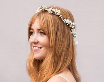 Ivory Bridal Flower Headpiece, Ivory Wedding Crown, Rustic Ivory Flower Crown, Bridal Headpiece, Bridal Floral Crown, Bridal  Hair Wreath