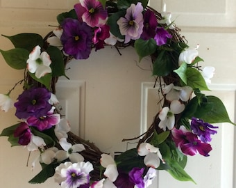 Purple Floral Spring Wreath