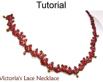 Beading Patterns and Tutorials - Beaded Necklace - Jewelry Making - Beadweaving - Simple Bead Patterns - Victoria's Lace Necklace #11249
