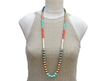 BEST SELLER / long boho necklace / wood bead necklace / multi color necklace / mint gold gray orange / long beaded necklace / gift for her