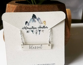 Hand Stamped Jewelry-Personalized necklace-Sterling Silver Bar Rectangle-Be Still-Blessed-Graduation Gift-Teen Jewelry-Mother's Necklace