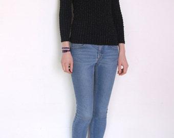 70' sparkly thread blouse, disco longsleeve blouse, black grunge top, shiny v neck blouse