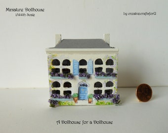 Miniature Dollhouse, 1/144th Scale, Dollhouse for a Dollhouse, use as a Toy in a 1/12th Dollhouse, Handpainted, Front Opening, OOAK