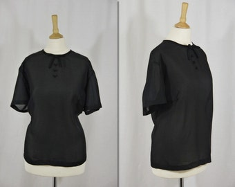 1960s Black Sheer Blouse Top * Size XX-Large