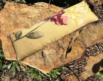 Lavender Silk rice heating pad hot cold compress, lavender stress relief gifts, lavender relaxation yellow silk and roses, sinus rice pack