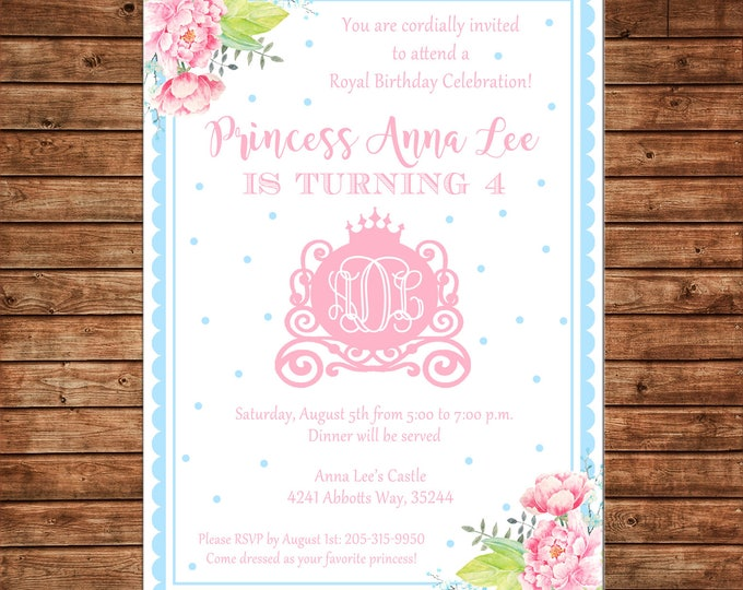Girl Invitation Watercolor Monogram Princess Carriage Birthday Party - Can personalize colors /wording - Printable File or Printed Cards
