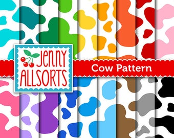 Cow Pattern Digital Design Papers in Bright Rainbow Colors for Invites, card making, digital scrapbooking