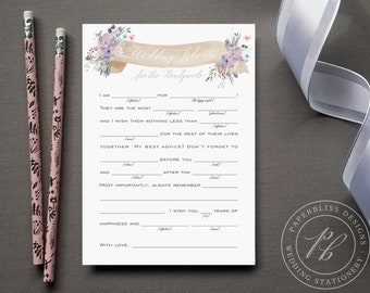 Watercolor Floral Wedding Mad Libs, purple flower Mad lib wedding advice cards, printable wedding madlibs, Wedding guest book alternative