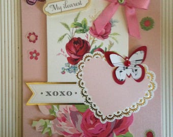 Valentine Card/Handmade/3D/Floral/Features Red & Pink Roses, Butterflies, Bow and Greeting