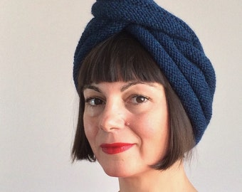 FAB Sophia Turban Hat Vintage Style Night Blue Pure Wool Fall Winter Hand Knit Two Pieces 1940s 70s Fashion Chic Diva Bobshell Pinup Boho