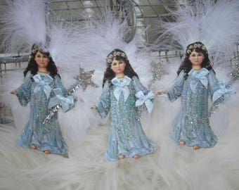 Christmas angels  and magic wand*Four*German glitter*feathered wings*Plumes*Blues*So darling