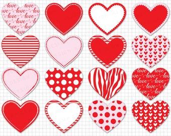 "Heart Clipart: ""Digital Heart Clipart"" Valentine Heart Clipart, Heart Labels, Red Hearts Clip Art, Love Clipart, Heart Graphics"