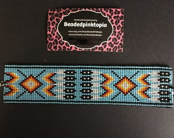 Native American Feathers Tribal beaded bracelet. Handmade. Beaded cuff. Beaded jewelry.