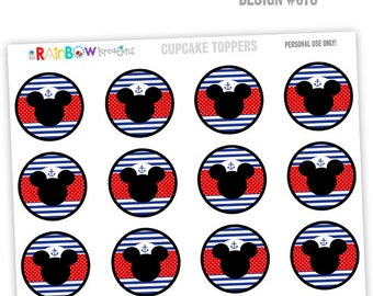CT-870: DIY Nautical Mickey Mouse 3 Cupcake Toppers - Instant Downloadable File