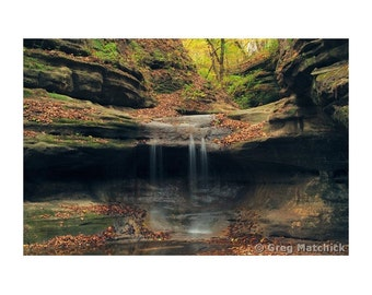 """Fine Art Color Landscape Photography of Waterfall at Matthiessen State Park in Illinois - """"Matthiessen Box Canyon Waterfall 2"""""""