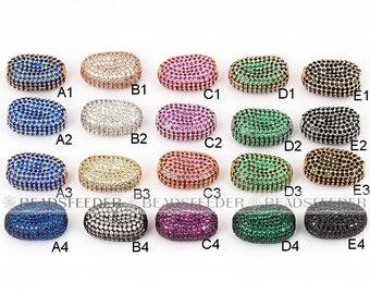 Bean bead, Micro Pave Bead/CZ Bead / Clear Cubic Zirconia bean beads,space beads, Men Bracelet Charms, Pave Beads, Bracelet Charms,20mm,1pc