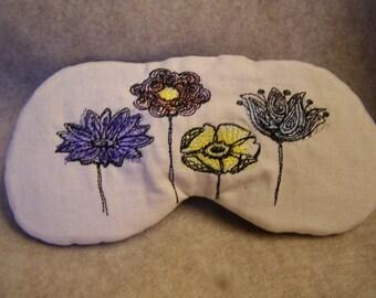 Embroidered Eye Mask, Sleeping, Cute Sleep Mask for Kids or Adults, Sleep Blindfold, Slumber Mask, Flowers, Eye Shade, Travel, Handmade
