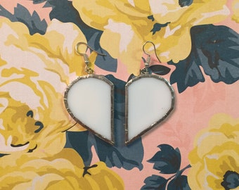 White Heart Stained Glass Earrings