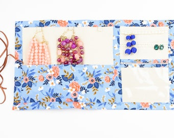 Large Jewelry Case Travel Roll and Organizer in Birch Periwinkle - Rifle Paper Co.