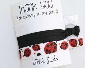 Thank You for coming to my party! Hair Tie Favors | Limited Edition Ladybug Hair Ties | Birthday Party Favors | PERSONALIZED | 3ct