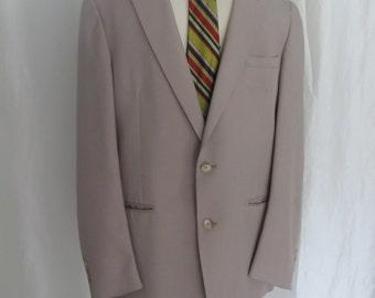 Vintage 70s mens jacket, sportcoat, sportsjacket, blazer, designer Oleg Cassini, beige tan