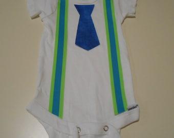 Baby Toddler Boy Suspenders and Tie Onesie Cute
