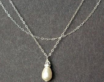 Swarovski Pearl Bridal Necklace, Sterling Silver Wedding Necklace, Simple Wedding Jewelry, Teardrop Pearl Bridal Necklace, SNOW DROP