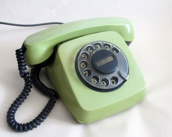 Green Rotary Phone, Soviet Rotary Telephone, Vintage Phone, Working Retro Phone, Old Phone, Made in USSR