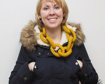 Gold Chain Scarf Necklace,Infinity Scarf,Circle Scarf,Crochet Chain  Scarf,Winter crochet scarf chain,knitted Scarf Necklace,gift for her