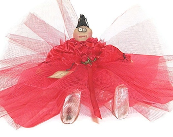 Ballerina Doll, Red, Valentines Doll, Garnet, Valentines Decor, Ballerina, Primitive, Scarlet, Primitive Doll, Primtive Ballerina, Doll