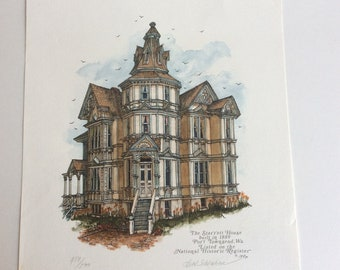 Vintage Lithograph Print by Bee Schreiber, Port Townsend WA
