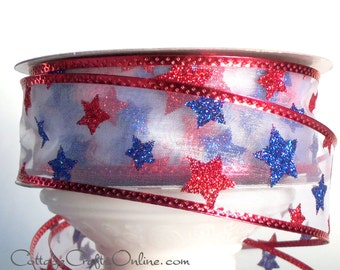 "Wired Ribbon 1 1/2"" Patriotic Red, White and Blue Glitter Stars - THREE YARDS - Offray ""Starburst"" July 4th, Independence Wire Edge Ribbon"