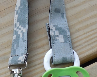 Army Baby US Army Fabric Pacifier Holder Military Baby Pacifier Holder  ACU or OCP Camouflage Fabric Pacifier Holder Binky Clip