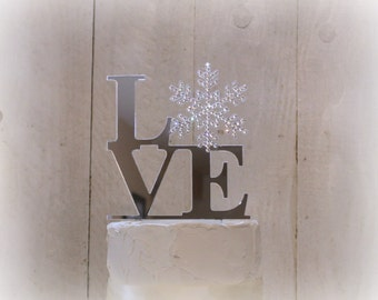 Snowflake Wedding Cake Topper Swarovski Crystals Winter