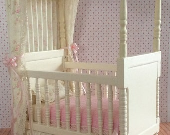 Miniature One Inch Scale Cream with Pink Floral Print Canopy Crib