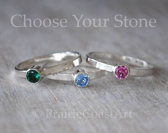 Silver Birthstone Ring, Sterling Silver Birthstone Stacking Ring - Choose a Birthstone - Moms Ring - Peridot, CZ, Alexandrite,Tourmaline ++
