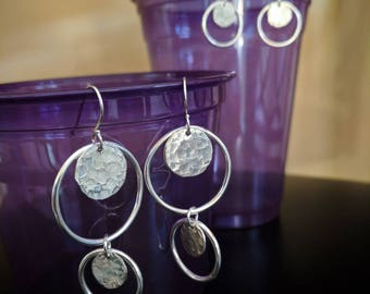 Mobile Hoops and Discs Sterling Silver Earrings