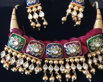 Unique Kundan threaded necklace set