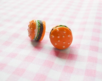 Hamburger Earrings, Burger Earrings, Food Earrings, Summer Earrings, Hamburger Studs, Hamburger Posts, Burger Studs, Burger Post