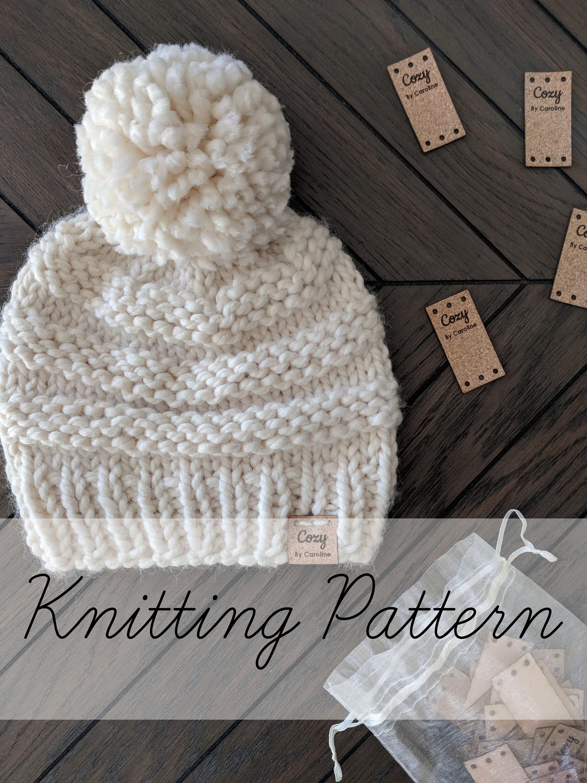 Knitting Pattern, Classic Knit Beanie, Hat Knitting Pattern ...