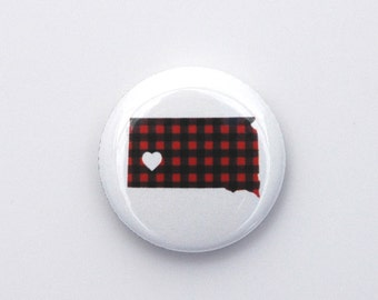 South Dakota Pin - South Dakota Love Pinback Button by Oh Geez! Design