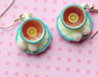 Tea Time Chamomile Tea Cups Earrings, Miniature Food Jewelry, Inedible Jewelry, Alice in Wonderland, Kawaii Jewelry, Tea Cup Jewelry, Coffee