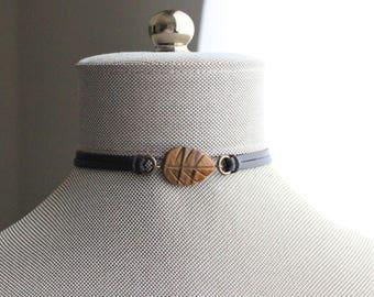 Tiger Eye Leaf Leather Choker and/or Bracelet