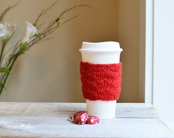 Coffee Sleeve, Travel Cup Cozy, Hand Knit Coffee Jacket, 100% Wool, Gifts under 10, Gift for Men, Valentine, Unisex Gift ,Stocking Stuffer