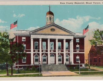 Knox County Memorial, Mount Vernon, Ohio Vintage Postcard | White Border | Unused
