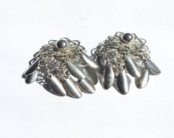 Vintage Stainless Steel Filigree Flower Dangle Clip-on Earrings