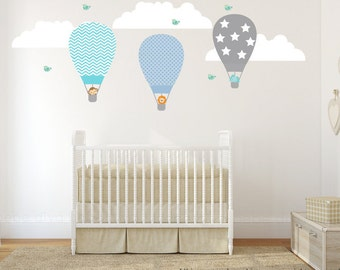 Hot Air Balloons Wall Decal, Wall Decals Nursery, Nursery Wall Decal, Kids Wall Decals, Baby Wall Decal, REMOVABLE REUSABLE