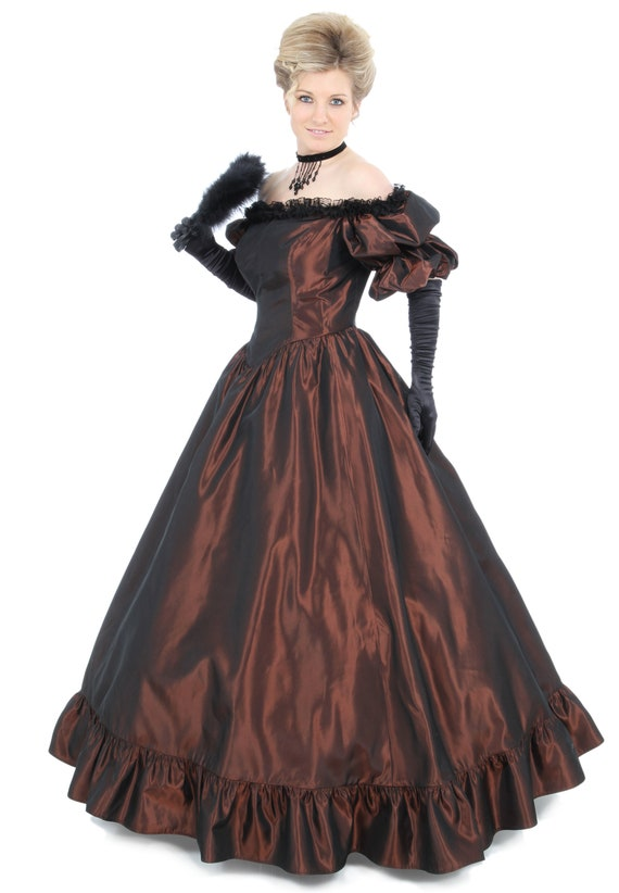 Victorian Dresses, Clothing: Patterns, Costumes, Custom Dresses Priscilla Victorian Off-Shoulder Ball Gown $165.00 AT vintagedancer.com