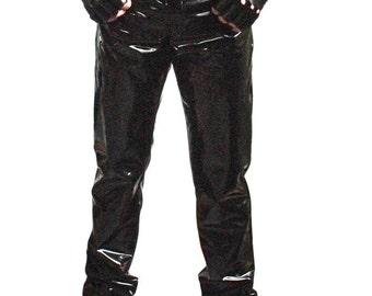 4-way stretch vinyl jeans